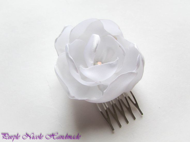 Peony 2 - Handmade Bridal Decorative Hair Comb Flower by Purple Nicole (Nicole Cea Mov). Materials: satin, rhinestone.