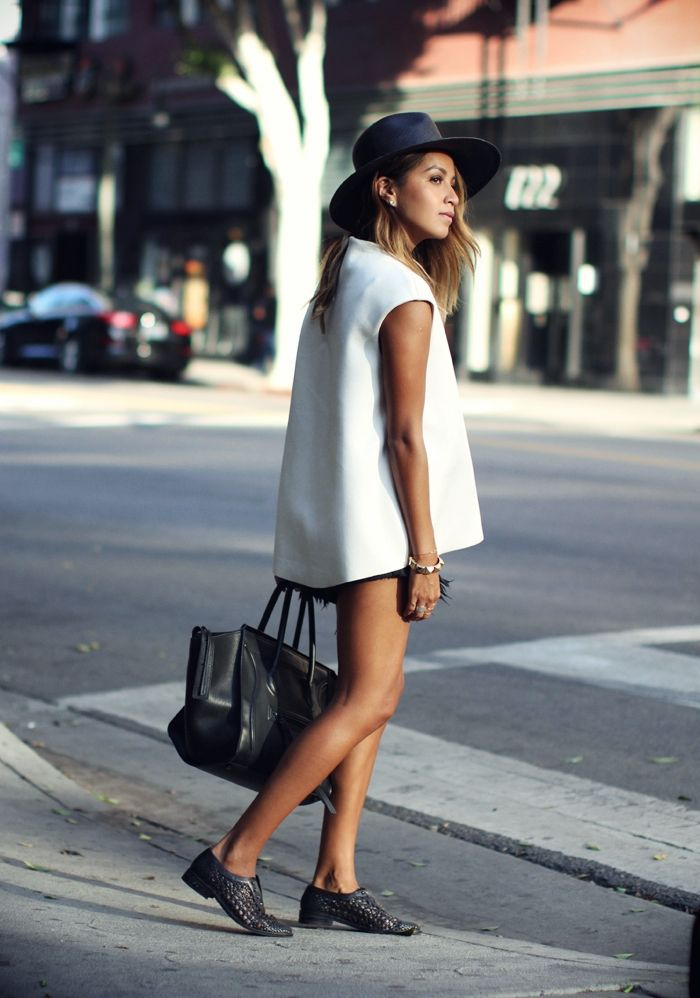 like oxfords, all-white tops, denim shorts in solid black