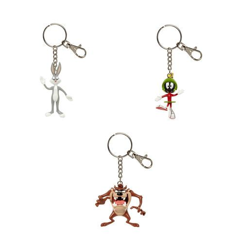 3 Looney Tunes Bendable Keychains (Bugs Bunny, Marvin the Martian, & Tasmanian Devil)