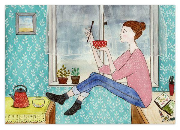 """Купить Иллюстрация """"Творчество"""" - иллюстрация, принт, постер, наив, девушка, девочка, комната, квартира, окно"""