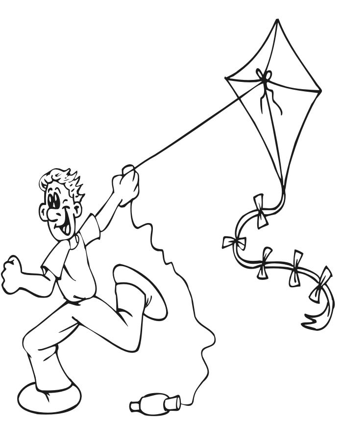 kite coloring pages for kids - Kite Coloring Page
