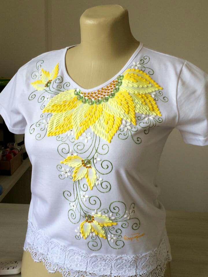 Camiseta com acripuff risco pintura em tecido pinterest - Pinturas para pintar camisetas ...