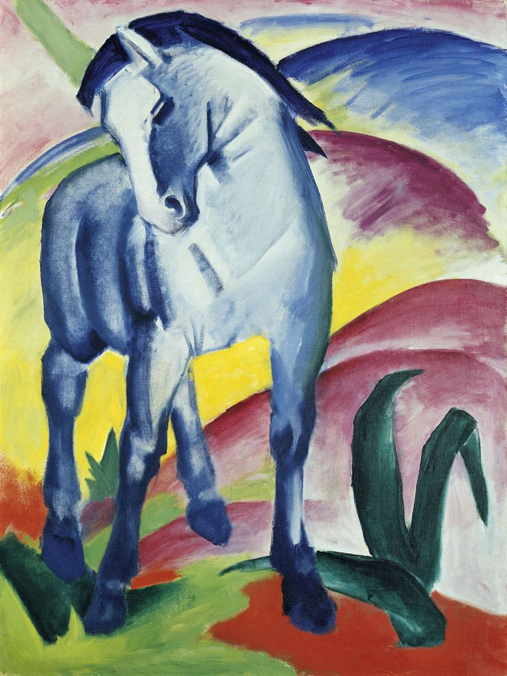 Blue Horse by Franz Marc (1880 - 1916) #Painting #German Expressionism #Franz_Marc