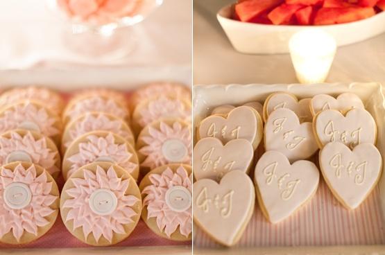 Gal Meets Boy || A Beautiful Lodi Wedding » Silvana Difranco: Pink Wedding, Rehearsal Dinners, Initials Cookies, Julia Engel Wedding, Bachelorette Ideas, Wedding Cookies, Rehear Dinners, Desserts Tables, Cute Cookies