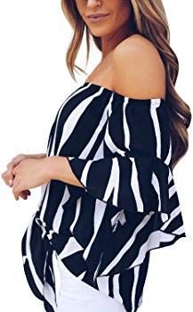 786ecdeeb2a Amazon.com: Asvivid Womens Striped Off The Shoulder Flare Sleeve T-Shirt Tie