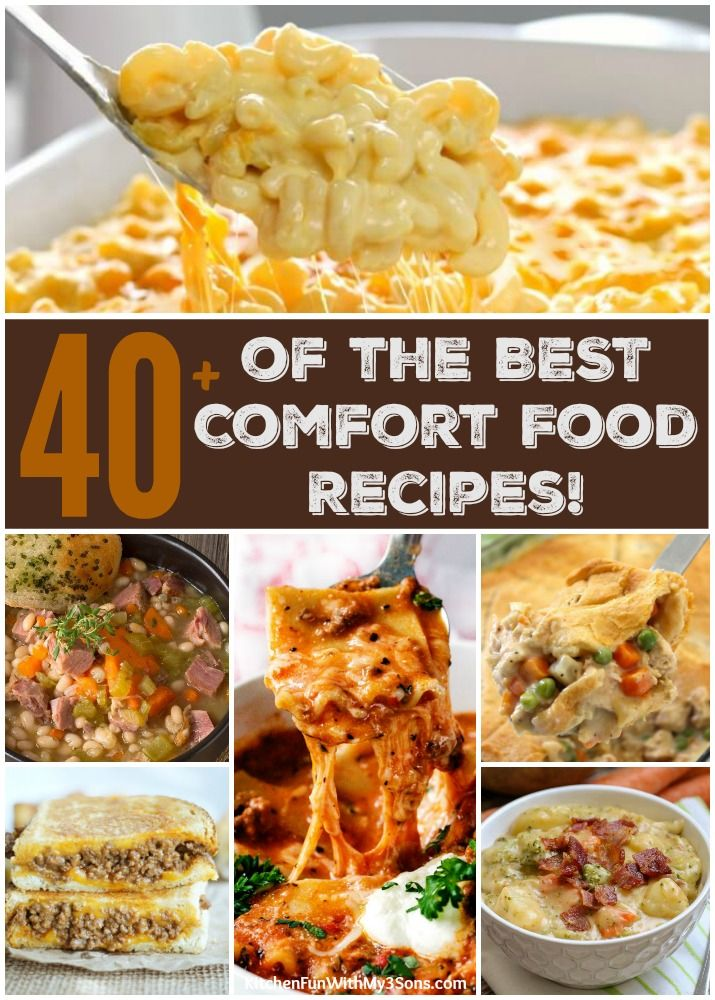 Over 40 of the BEST Comfort Food Recipes - everything from Macaroni and Cheese, Chicken Pot Pie, Soups and more! Classic dinners that your family will love!