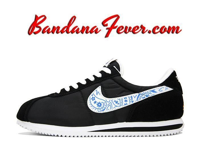 Custom Royal Blue Bandana Nike Cortez Nylon Black/White, #Nike #running,