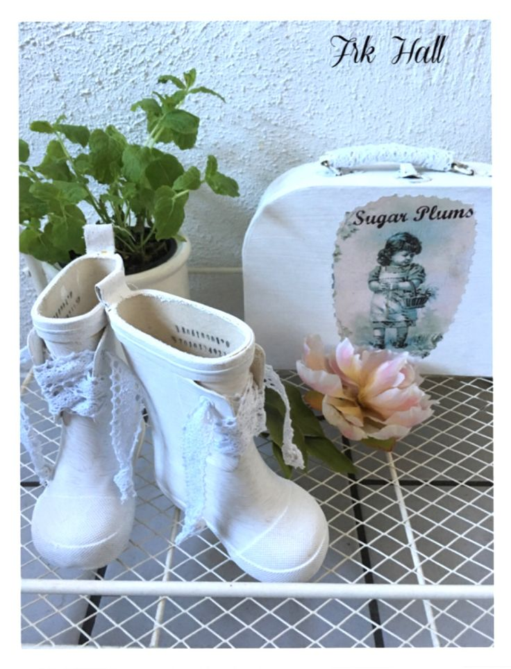 Small white romantic shabby chic boots, and suitcase for my lovely granddaughter
