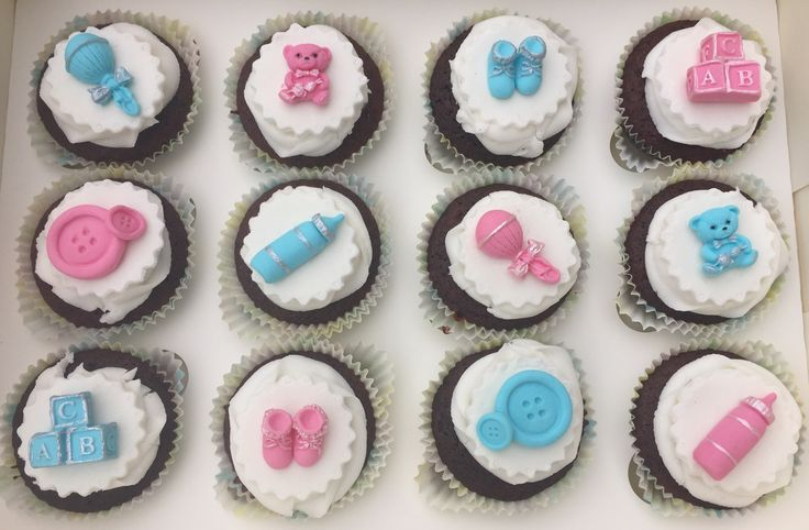 Baby Shower cupcaked. Mixed gender. So cute with the 3D decorations.  Check out my page https://www.facebook.com/frosted.cupcakes.invercargill/