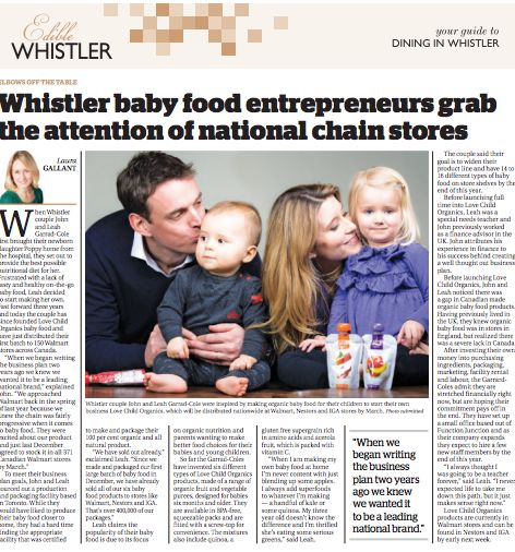 Love Child Organics Featured in Whistler Question!
