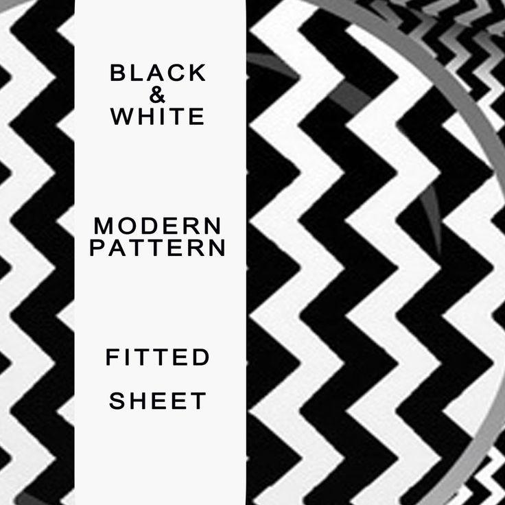 Fitted Sheet Black, White, Stripe Modern Print, Patterned by Mono-chrome 8 9 128  | eBay