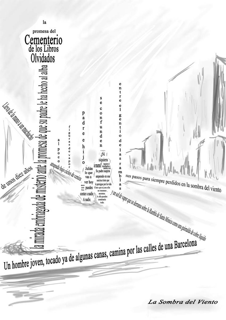 """Caligrama del libro """"La Sombra del Viento"""", de Carlos Ruiz Zafon / Caligram the book """"The Shadow of the Wind"""" by Carlos Ruiz Zafon. Dibujos con textos / Drawings with texts. Serie """"El cementerio de los libros olvidados"""" / """"Cemetery of forgotten books"""" series."""