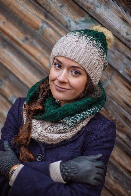 Шарф снуд и шапка вязаные «Таежная сказка», комплект вязанный - комплект шапка и шарф