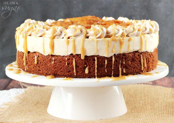 Caramel Apple Blondie Cheesecake - an apple spice blondie topped with no bake caramel cheesecake, with cinnamon apples and caramel sauce