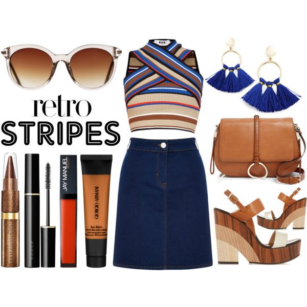 Retro Stripes by latoyacl on Polyvore featuring MSGM, Oasis, Jimmy Choo, Halston Heritage, BaubleBar, Icon Eyewear, Giorgio Armani and SUQQU