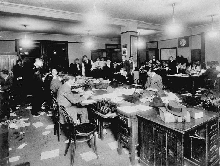The New York Times newsroom at the time of the sinking of the Titanic, April 15, 1912. (The New York Times Photo Archives) #