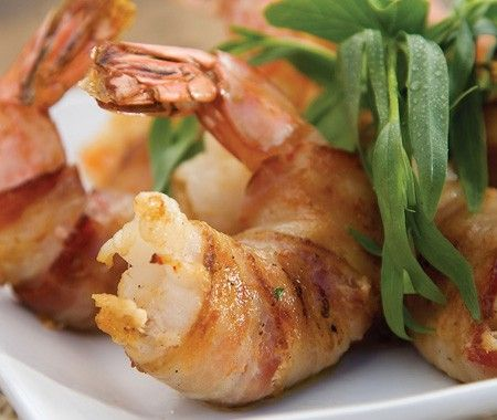 Bacon-Wrapped Jumbo Shrimp Appetizer Recipe | from Rob Rainford's Born To Grill cookbook | House & Home