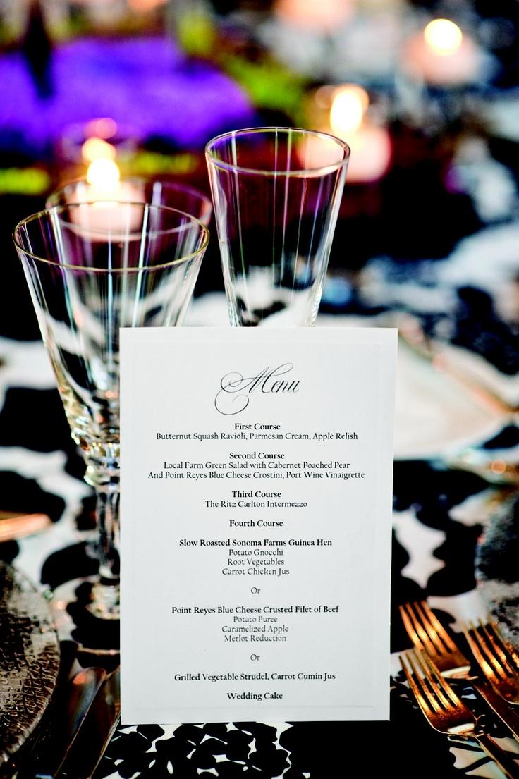 Ritz Wedding: Menu describes 4-course meal.