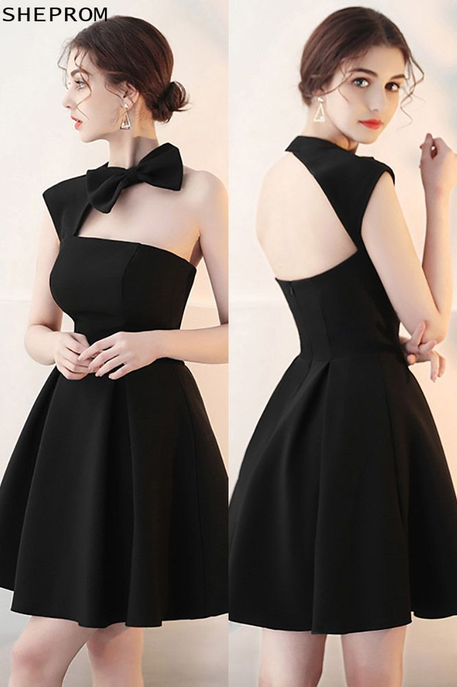 Little Black Homecoming Dress With Cute Bow Open Back 621