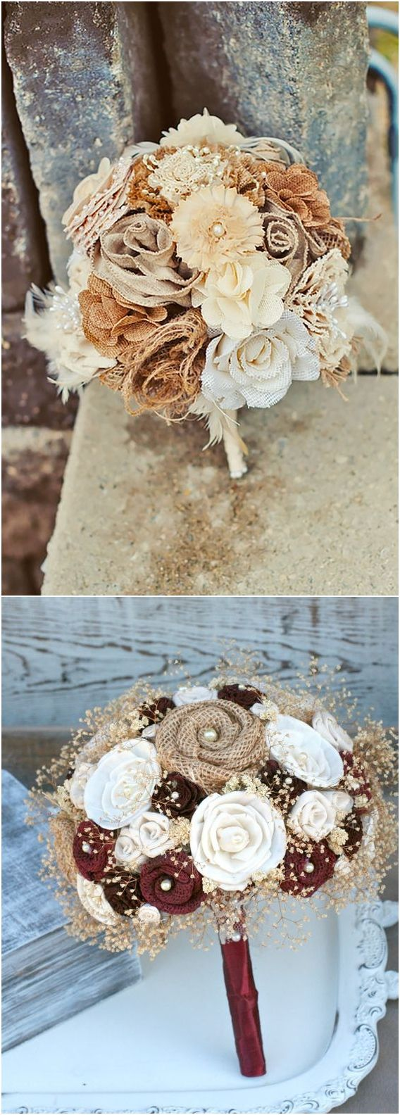 Rustic Country Swoon-Worthy Burlap Wedding Bouquets #weddings #rusticweddings #countryweddings http://www.rosesandrings.com/burlap-wedding-bouquets/