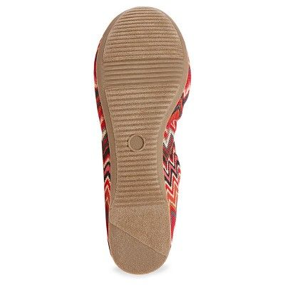Women's Ona Wide Width Round Toe Ballet Flats - Mossimo Supply Co. 7.5W Red, Size: 7.5 Wide, Multi-Colored