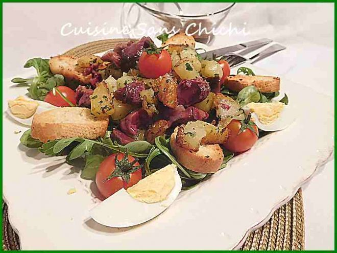 Salade aux gésiers confits et pommes de terre