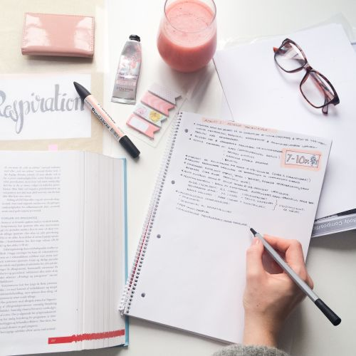 "studydiaryofamedstudent: "" Was not going to take a photo today, but then I realized that my smoothie matches my notes, so I just had to do it  I'm apparently really into this blush color  """