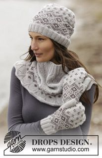 "Set consists of: Knitted DROPS mittens, neck warmer and hat with Nordic pattern in ""Lima"". Size: One-size ~ DROPS Design"