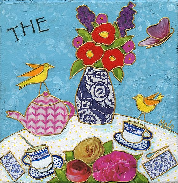 L'heure du thé par Isabelle Malo • Acrylique sur toile et collage • Mixed media • Folk art • www.isamalo.com • Artiste peintre du Québec • Art naïf