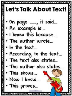 Great anchor chart to get the academic language started. CCSS.ELA-LITERACY.SL.1.1 Participate text-based conversations in reading.