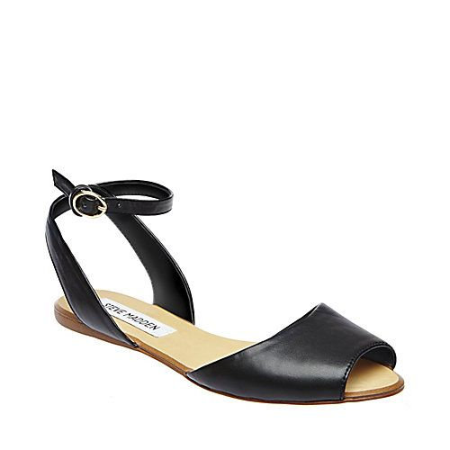Sandals Summer LENNIX BLACK womens sandal flat ankle strap - Steve Madden -  There is nothing more comfortable and cool to wear on your feet during the  heat ...