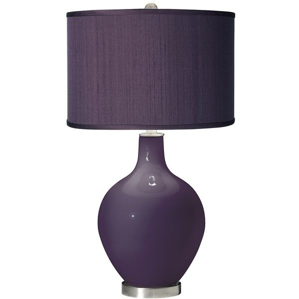 Quixotic Plum - Eggplant Faux Silk Shade Ovo Table Lamp ($150) ❤ liked on Polyvore featuring home, lighting, table lamps, purple, purple table lamp, purple glass lamp base, glass lighting, glass table lamps and glass lamps