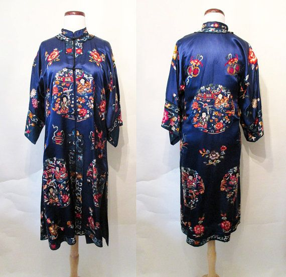 Exquisite Vintage 1950's Silk Chinese Robe Cocktail by wearitagain
