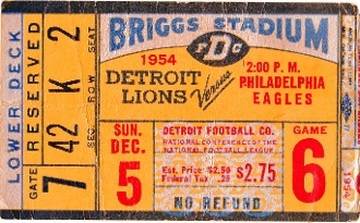 FOOTBALL ART made from an authentic 1954 Detroit Lion ticket. Perfect Father's Day Gift!