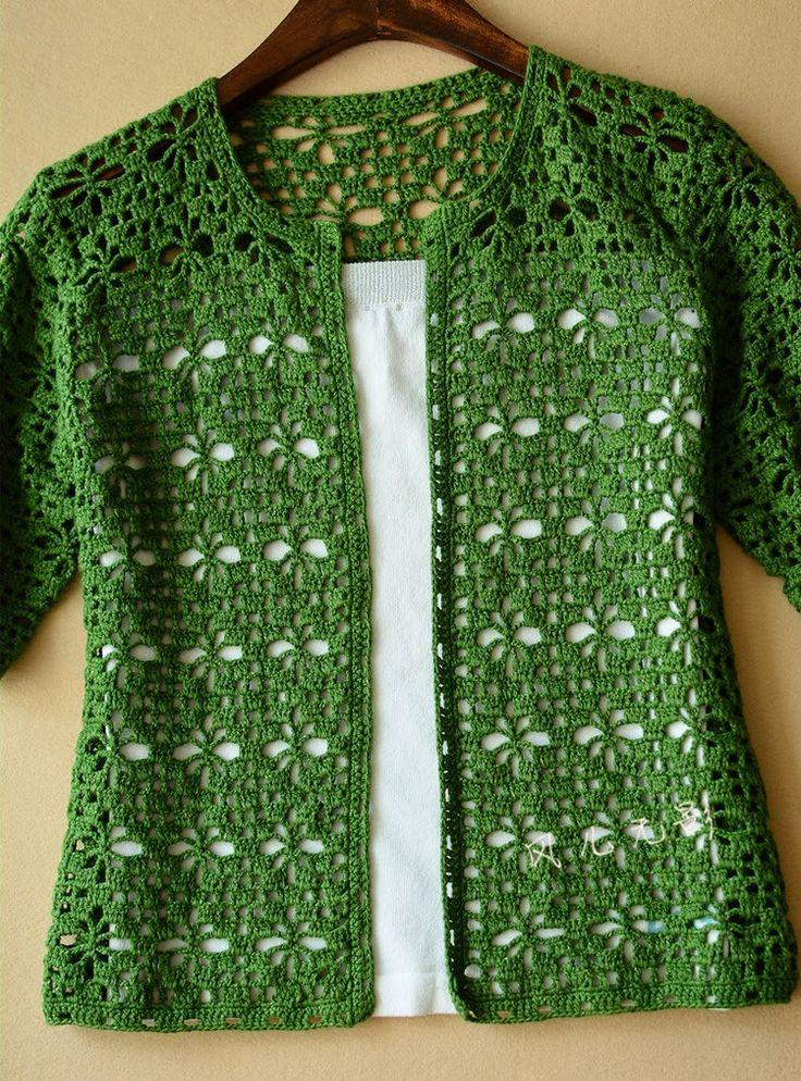 Crochet: green crochet cardigan - free diagram