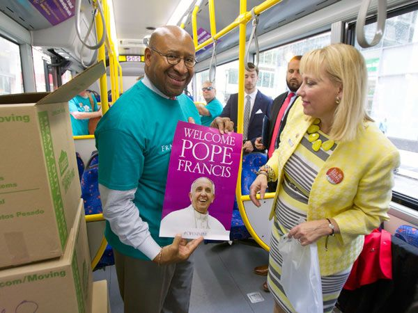 Eight days to go, still no pope contract:  Mayor Michael Nutter, left, and Donna…