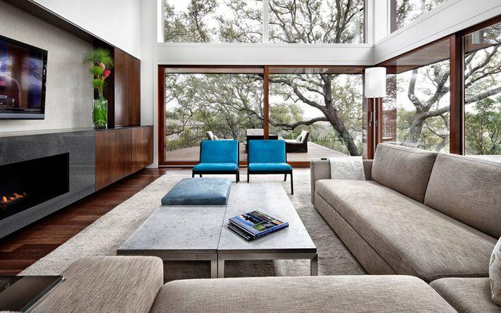Télécharger fonds d'écran Salle de séjour, un design moderne, un salon intérieur, une cheminée, d'un intérieur moderne