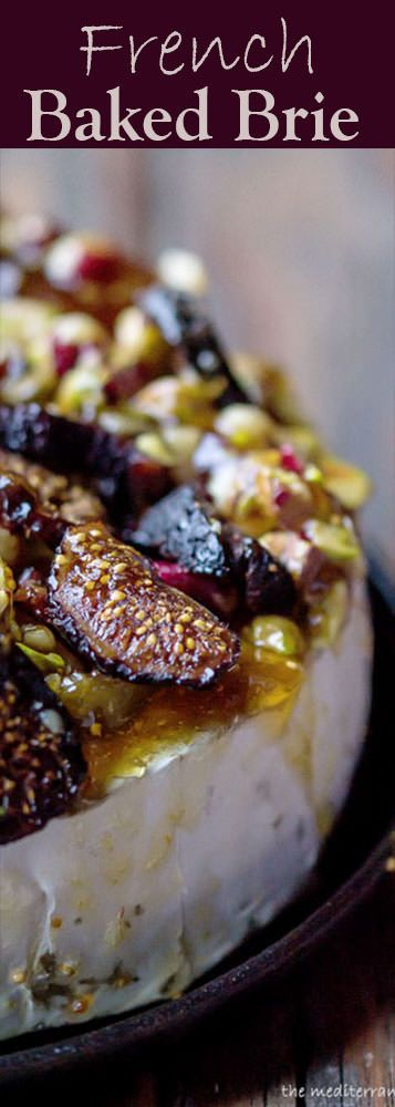 French Baked Brie Recipe   The Mediterranean Dish. Easy, melty baked brie loaded with dried figs, nuts and more. The perfect appetizer in 15 minutes or less. #bakedbrie #brie #appetizer #holidayrecipe #holidayappetizer #cheese