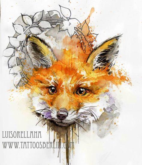 watercolor fox tattoo design sketch www.tattoosberlin.com