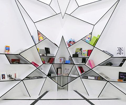 crazy geometric bookcase
