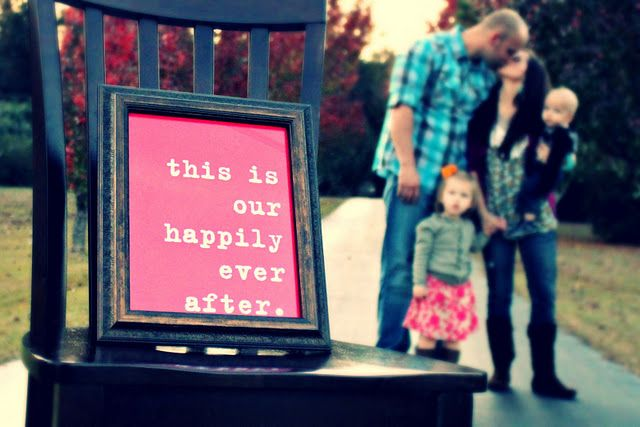 this was fun. family photo idea - or wedding photos with chalkboard message idea