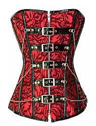 Kvinnors Vintage Print Kedja Dekoration Bandage Korsett Med G-Strings