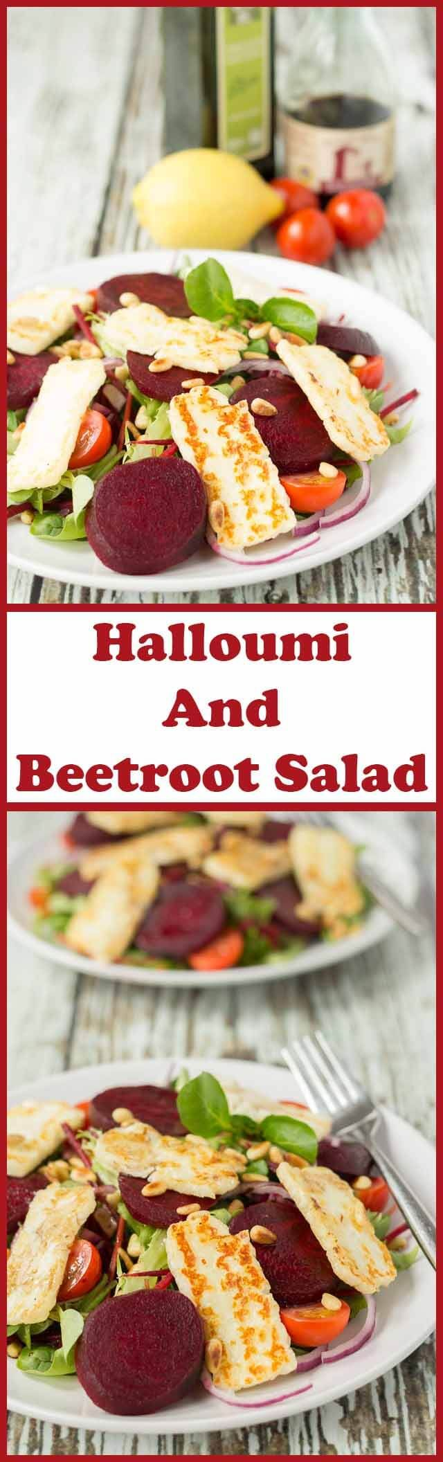 Halloumi and beetroot salad is a perfect delicious lunch or light dinner option. It's less than 300 calories and it's also quick and easy to make. via @neilhealthymeal