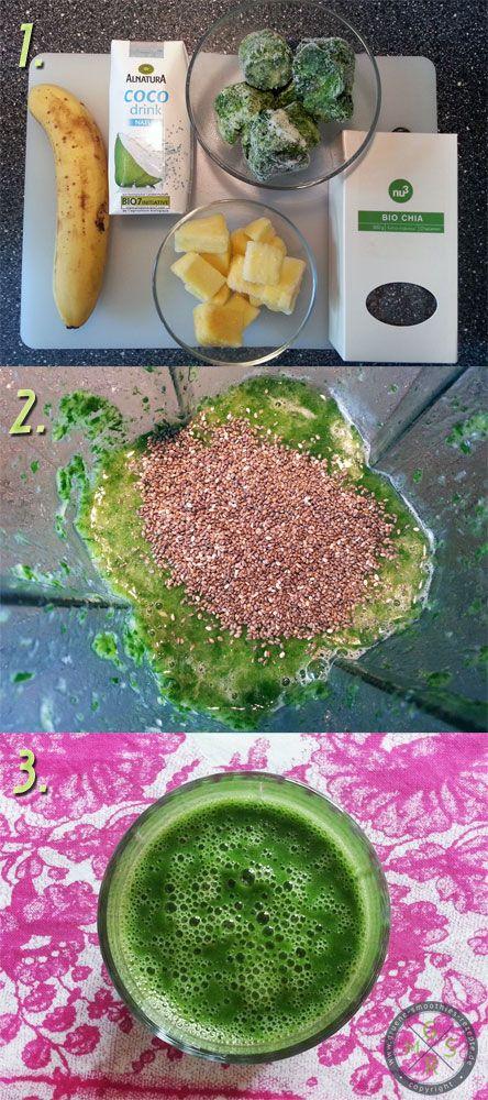 Heute starte ich noch mal mit dem super leckeren grünen Smoothie mit Kokoswasser, Chiasamen, Banane, Ananas, Spinat und Limettensaft in den Tag <3