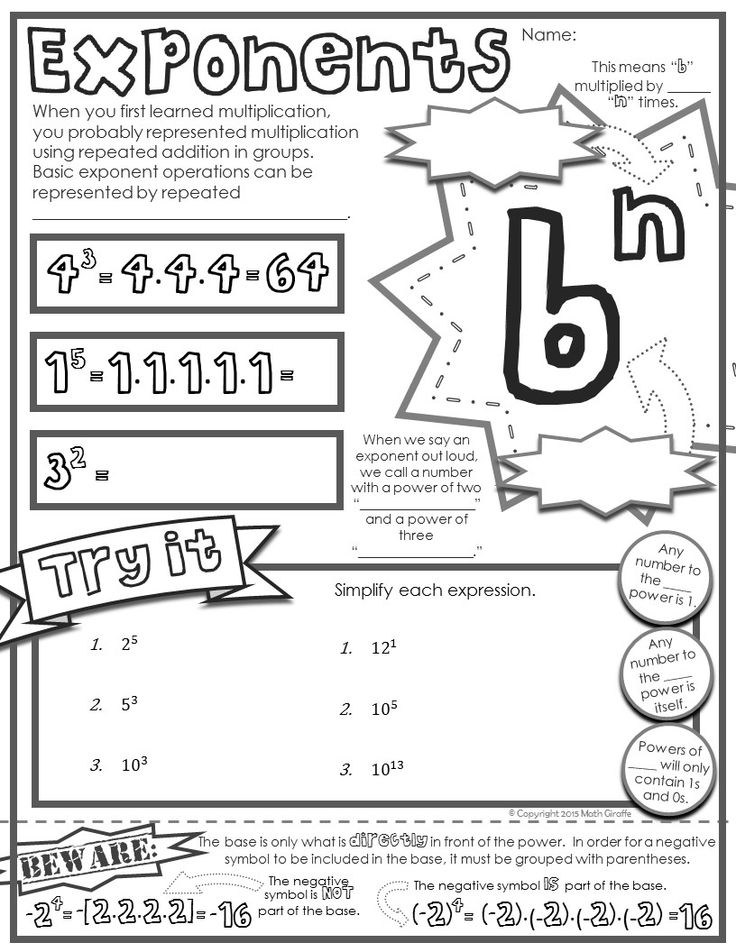 "Free download - ""doodle notes""  - a basic intro to exponents"