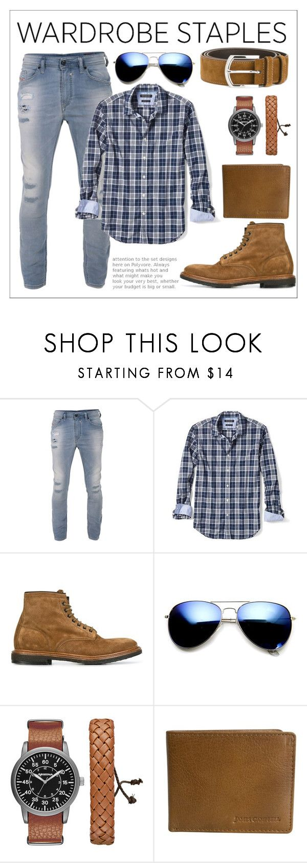 """Men's Plaid Essential's"" by christinadrussell ❤ liked on Polyvore featuring Diesel, Banana Republic, Premiata, ZeroUV, Arizona, James Campbell, Church's, men's fashion, menswear and plaid"