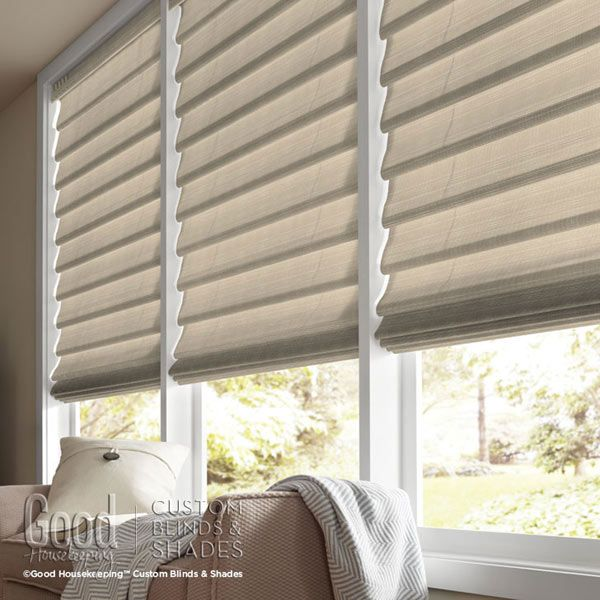 Good housekeeping hobbled roman shades room decor house for Roman blinds for large windows