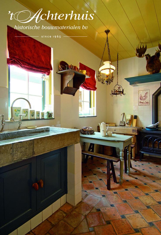 Kitchen, floor, vloer, red color, rode vloer, 't Achterhuis, Udenhout