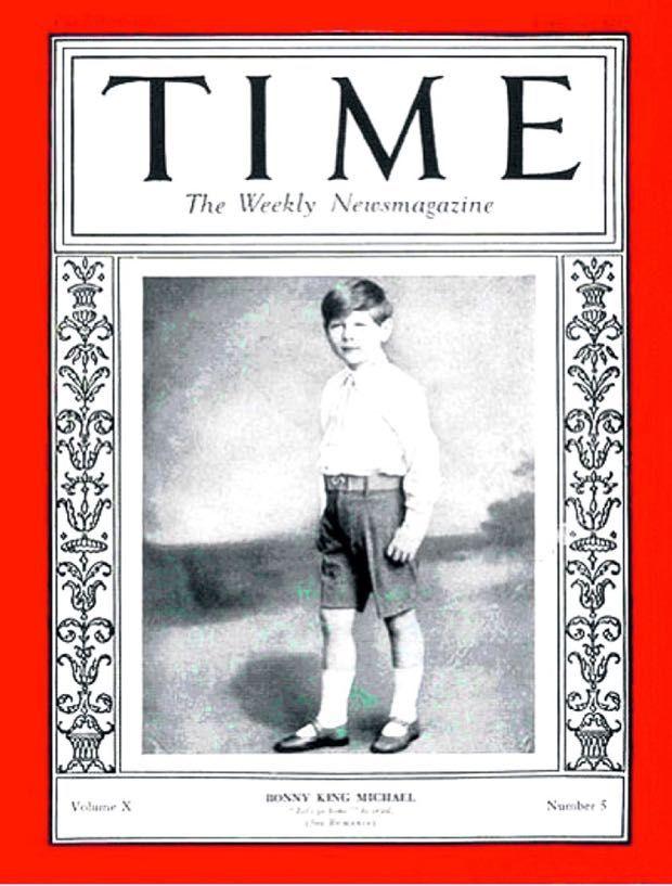 Coperta Revistei Time august 1927 Regele Mihai