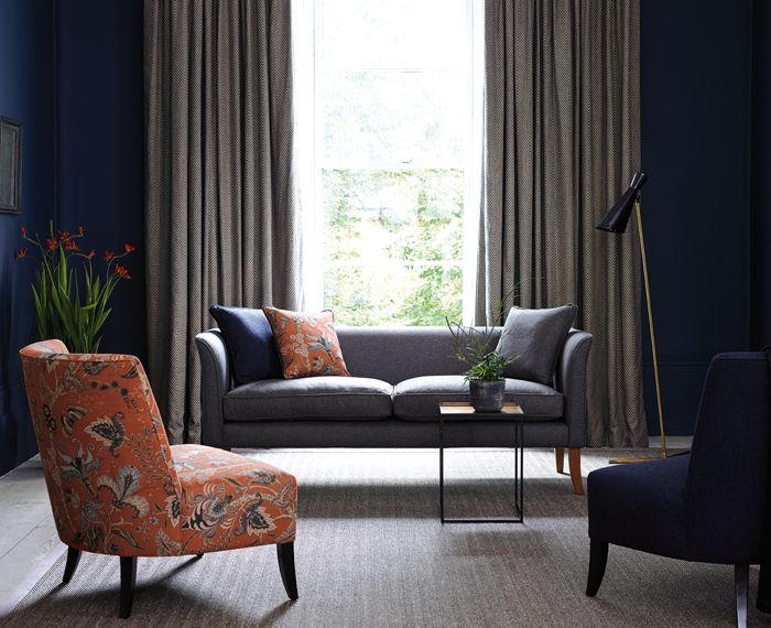 The Fable Range | Linwood Fabrics Curtain - Kitsune | Navy | LF1930C/5 Orange chair - Uhura | Tomato | LF1923C/4 Sofa - Lana | Battleship | LF1921FR/54 Blue chair - Lana | Colbalt | LF1921FR/48. http://www.linwoodfabric.com/product-category/fabrics/fable/